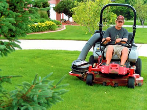 Image gallery mowing the yard for Landscaping services